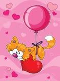 Gatito de las tarjetas del día de San Valentín Foto de archivo libre de regalías