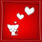Gatito del amor con los corazones Foto de archivo libre de regalías
