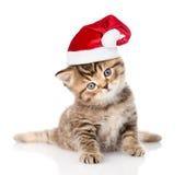 gatito del gato atigrado del bebé en sombrero rojo de la Navidad Aislado en blanco Fotografía de archivo