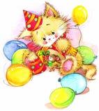 Gatito divertido decoración para el fondo del cumpleaños del niño para el día de fiesta wat Fotografía de archivo