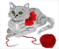 Gatito e hilado Imagen de archivo