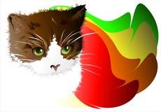 Gatito en un fondo abstracto. 02 (vector) Foto de archivo libre de regalías