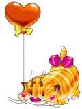 Gatito en un globo rojo Fotos de archivo