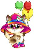Gatito en un sombrero y zapatos con las bolas. Fotos de archivo libres de regalías