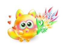 Gatito enamorado ejemplo del vector 3d pequeño Gato amoroso multicolor realista con el ramo hermoso de flores en vagos blancos stock de ilustración