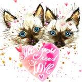 Gatito Gatito de Cyte y corazón del día de tarjetas del día de San Valentín