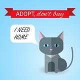 Gatito lindo con mí necesito el texto casero La cinta con Adopt no compra texto Animales sin hogar concepto, tema de la adopción  Stock de ilustración
