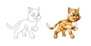Gatito lindo de la historieta Animal exhausto del garabato de la mano del jengibre Bosquejo para la página que colorea stock de ilustración
