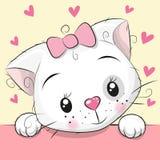 Gatito lindo de la historieta con los corazones stock de ilustración