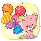 Gatito lindo de la historieta con los globos stock de ilustración