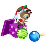 Gatito lindo de la historieta que juega con las bolas de la decoración de Navidad stock de ilustración