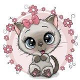 Gatito lindo de la tarjeta de felicitación con las flores stock de ilustración