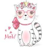 Gatito lindo hermoso de la niña con las flores Ilustración del vector stock de ilustración
