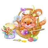 Gatito lindo que se sienta en una cesta y huevos de las pinturas Imagen de archivo
