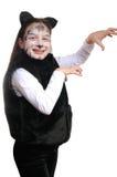 Gatito. Muchacha en un traje del gato Foto de archivo libre de regalías