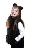 Gatito. Muchacha en un traje del gato Fotografía de archivo