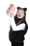 Gatito. Muchacha en un traje del gato Foto de archivo