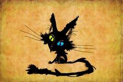 Gatito negro con diversos ojos coloreados Imagenes de archivo