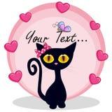 Gatito negro con los corazones Imagen de archivo