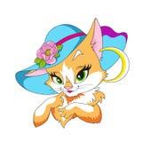 Gatito precioso en un sombrero Gato del personaje de dibujos animados Señora del gato Ilustración del vector en el fondo blanco V Fotos de archivo libres de regalías
