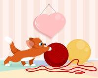 Gatito que juega con las bolas ilustración del vector