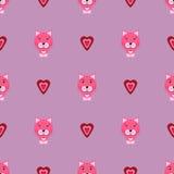 Gatito rosado con el patterm del vector del amor Fotos de archivo libres de regalías