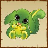 Gatito verde lindo con los oídos largos Fotografía de archivo libre de regalías