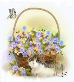 Gatito y cesta Imagen de archivo