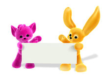 Gatito y conejito con la muestra - incluye el camino de recortes Fotografía de archivo libre de regalías