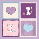 Gatito y corazones Foto de archivo libre de regalías