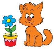 Gatito y flor (clip del vector libre illustration