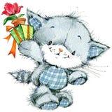 Gatito y flor divertidos para el CCB de la tarjeta y de los niños de felicitaciones del día de fiesta stock de ilustración