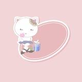 Gatito y regalos de la etiqueta engomada de los niños Imagen de archivo