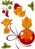 Gatitos 1 de la colección de la Navidad Foto de archivo libre de regalías