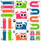 Gatitos coloridos divertidos fijados Imagen de archivo