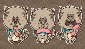 3 gatitos del kawaii Imágenes de archivo libres de regalías