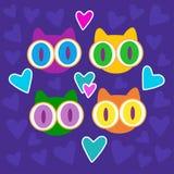 Gatitos y ejemplo lindos del vector de los corazones Imágenes de archivo libres de regalías