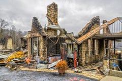 Gatlinburg森林火灾毁坏的汽车旅馆结构 免版税库存照片