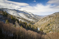Gatlinburg Great Smoky Mountains National Park. Winter Overlook Snow Landscape in Cold Tennessee January Stock Image