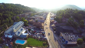 Gatlinburg Tennessee Aerial drone footage Royalty Free Stock Images
