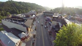 Gatlinburg Tennessee Aerial surrlängd i fot räknat lager videofilmer
