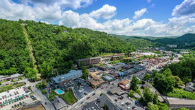 Gatlinburg, Tennessee, USA downtown Aerial View stock footage