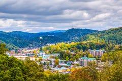 Gatlinburg, Tennessee, USA. Town skyline in the Smoky Mountains royalty free stock photos