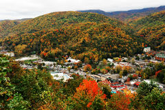 Gatlinburg and valley of smoky mountain in autumn Stock Images