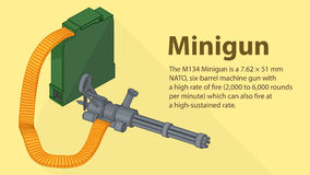 Gatling minigun isometric flat vector Royalty Free Stock Photo