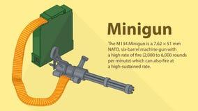 Gatling minigun isometric flat vector Royalty Free Stock Photo
