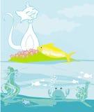 Gato afortunado con los pescados del oro Fotos de archivo libres de regalías