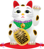Gato afortunado japonês clássico Fotografia de Stock Royalty Free