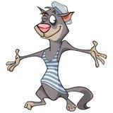 Gato alegre dos desenhos animados em uma veste e em um tampão Foto de Stock