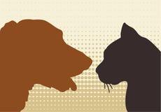 Gato & cão Fotografia de Stock